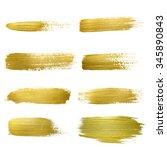 gold paint smear stroke stain... | Shutterstock . vector #345890843