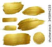 gold paint smear stroke stain...   Shutterstock . vector #345894233