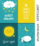 Vector Set Of Four Night Cards...