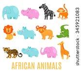 african animals set vector... | Shutterstock .eps vector #345921083