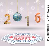 merry christmas and happy new ... | Shutterstock .eps vector #345931313