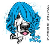 funny dog in a blue female wig... | Shutterstock .eps vector #345939227