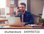 enjoying good working day.... | Shutterstock . vector #345950723