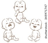 set of baby emotion icons. face ... | Shutterstock .eps vector #345971747