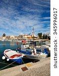 Small photo of Aegina, Greece - November 23, 2015: Fishing boats in the port of Aegina, Greece