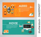 audio production and podcast ... | Shutterstock .eps vector #346009457