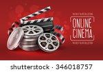 online cinema with film movie... | Shutterstock .eps vector #346018757