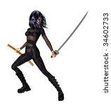 woman standing holding a sword | Shutterstock . vector #34602733