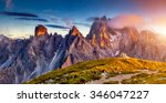 great view of the top cadini di ... | Shutterstock . vector #346047227
