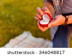 man making a proposal of... | Shutterstock . vector #346048817