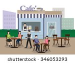people sitting at outdoor cafe... | Shutterstock .eps vector #346053293