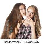 two cute teenagers having fun... | Shutterstock . vector #346063637