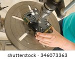 technician destroying data on a ... | Shutterstock . vector #346073363