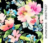 seamless pattern with flowers... | Shutterstock . vector #346074227