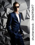 fashion shot of a handsome... | Shutterstock . vector #346090697