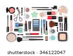 makeup cosmetics and brushes on ... | Shutterstock . vector #346122047