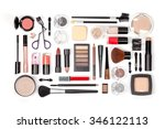 makeup cosmetics and brushes on ... | Shutterstock . vector #346122113