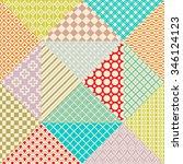 retro patchwork. 16 seamless... | Shutterstock . vector #346124123