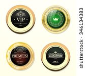 glossy and gold labels. colored ... | Shutterstock .eps vector #346134383