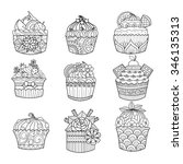 hand drawn cupcake for coloring ... | Shutterstock .eps vector #346135313
