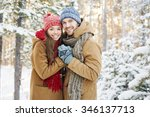 embracing couple looking at... | Shutterstock . vector #346137713