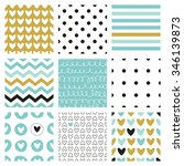 set of 9 seamless vector... | Shutterstock .eps vector #346139873
