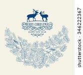 christmas background bush rowan ... | Shutterstock .eps vector #346222367
