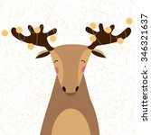 cute christmas elk with garland ... | Shutterstock .eps vector #346321637