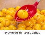 plastic spoon with jam small... | Shutterstock . vector #346323833