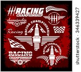 set of car racing emblems and... | Shutterstock .eps vector #346339427