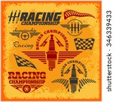 set of car racing emblems and... | Shutterstock .eps vector #346339433