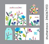 vector set of floral cards with ... | Shutterstock .eps vector #346367453