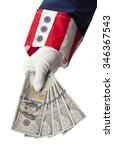 Small photo of Uncle Sam Handing Holding Money Isolated on White Background.