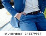 handsome groom in suit on the... | Shutterstock . vector #346379987