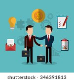 business people with icons... | Shutterstock .eps vector #346391813