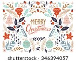 merry christmas hand drawing... | Shutterstock .eps vector #346394057