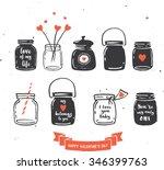hand drawn mason jar collection ... | Shutterstock .eps vector #346399763