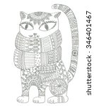 Cat In Scarf Coloring Page