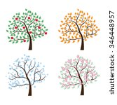 set of trees four seasons.... | Shutterstock .eps vector #346448957