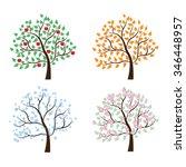 set of trees four seasons | Shutterstock .eps vector #346448957