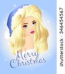 christmas blonde girl wearing... | Shutterstock .eps vector #346454567