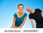 happy attractive man and woman... | Shutterstock . vector #346460867