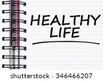 healthy life words on spring... | Shutterstock . vector #346466207
