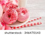 sweet donuts with strawberry... | Shutterstock . vector #346470143