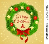 xmas needles wreath bow with...   Shutterstock .eps vector #346484987