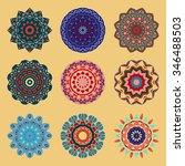 mandala. set of decorative ... | Shutterstock .eps vector #346488503