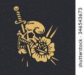 traditional tattoo flash skull... | Shutterstock .eps vector #346543673