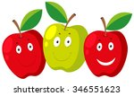 fresh apple with happy faces...