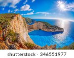 Stock photo navagio beach with shipwreck against sunset on zakynthos island in greece 346551977