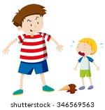 big boy bullying smaller boy... | Shutterstock .eps vector #346569563